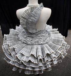"""Fashion designer Jolis Paons. Full set here http://www.flickr.com/photos/jolispaons/sets/72157604766091529/ """"For my Creative Processes class I designed and made this paper dress purely out of phonebook paper! I pleated, stuck, sewed, and glued everything by hand.""""  BLOG: http://jolispaons.blogspot.com/"""