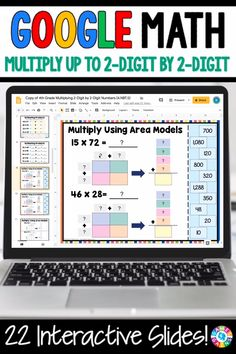 """LOVE THE VARIETY OF SLIDES!"" With this Grade Multiplication Up to to Numbers digital resource for Slides, your students will practice multiplying whole numbers (up to by using area models, partial products, and the standard algorithm. 4th Grade Multiplication, Multiplication Strategies, Fourth Grade Math, Math Fractions, Partial Product Multiplication, Math Math, Preschool Math, Kindergarten Math, Teaching"