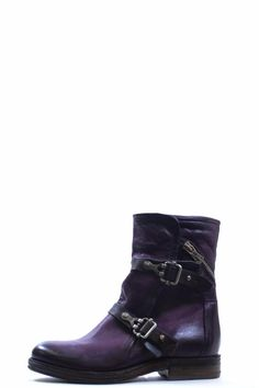 """Purple double buckle boot. Looks great with denim!  Heel Height 1""""  Short Purple Boot by A.S. 98. Shoes - Boots - Flat Canada"""