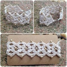 Diamond Shape Crochet Bracelet by AnieCraftsArt on Etsy Crochet Bracelet Pattern, Bracelet Patterns, Crochet Necklace, Crochet Patterns, Thread Crochet, Crochet Doilies, Crochet Lace, Crochet Edgings, Cotton Crochet