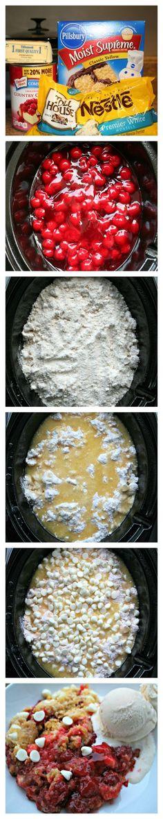 Slow Cooker White Chocolate Cherry Dump Cake