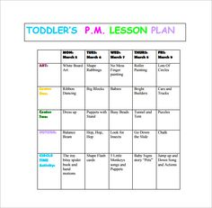 Toddler Weekly Lesson Plan  Lesson Plan Template