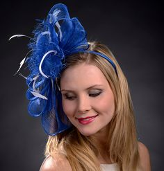 Royal Blue Large Bow Fascinator Hat for weddings by MargeIilane