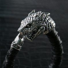 """Genuine Leather Bracelet with Handcraft 925 Sterling Silver """"Basilisk"""" clasp. www.khamsilver.com"""