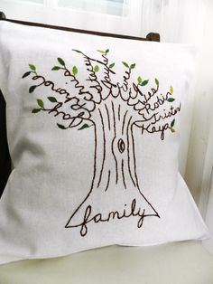 Personalized Family Tree Pillow Cover. Personalized Christmas Gift. Shades of Green. Parent's Anniversary. Gift for Mom. Birthday. Kids. by BlueLeafBoutique on Etsy https://www.etsy.com/listing/93292304/personalized-family-tree-pillow-cover
