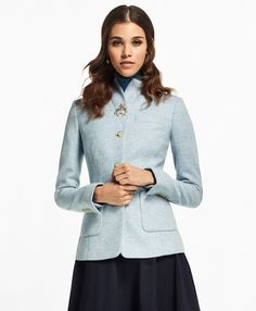 3b62df7de4b1 This ladylike three-button jacket is crafted from pale blue herringbone  wool from England's Abraham Moon Mill. It is thoughtfully tailored to  flatter the ...