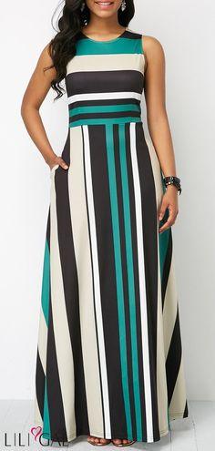 Long Maxi Dresses Stripe Print Pocket Zipper Back Sleeveless Maxi Dress Fashion Vestidos, Women's Fashion Dresses, Dress Outfits, Fashion Clothes, Dress Clothes, Trendy Dresses, Sexy Dresses, Casual Dresses, Party Dresses