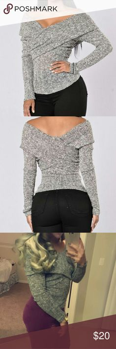 Gray off the shoulder Off the shoulder sweater Worn once  No trades Fashion Nova Tops