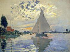Sailboat at Le Petit-Gennevilliers, 1874 by Claude Monet. Impressionism. landscape