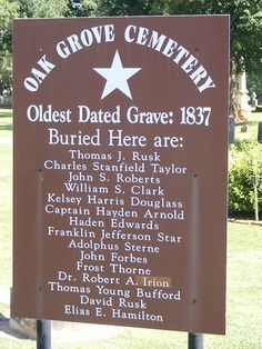Oak Grove Cemetery in Nacogdoches, Texas.