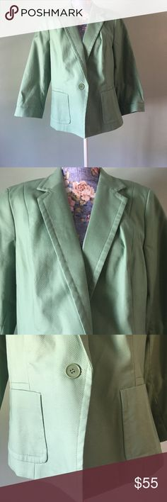 """Talbots the Kate fit Blazer Romantically Curvey 16 Mint green with a pink and green lined floral print. One button front with front pockets. Armpit to Armpit ~ 21"""", Sleeve ~ 20"""", Waist ~ 19"""" Talbots Jackets & Coats Blazers"""
