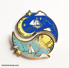 Solar Sailor/Lunar Mariner Hard Enamel Pin Set by sheilawong on Etsy Nalu, Ying Y Yang, Jacket Pins, Hard Enamel Pin, Cool Pins, Metal Pins, Pin And Patches, Pin Badges, Lapel Pins