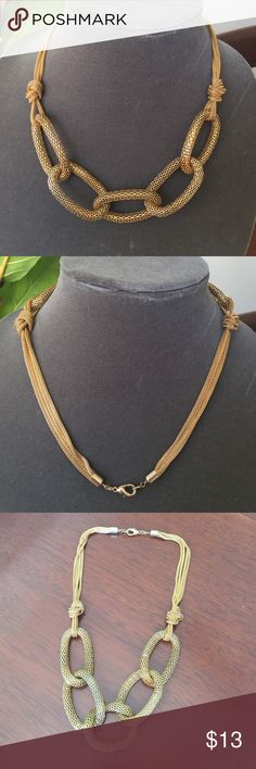 "Gold Mesh Link Necklace Lovely gold mesh link necklace. Measures 19"" in length when completely extended. Jewelry Necklaces"