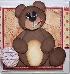 sick and injured bear - paper piecing - punch art - bjl