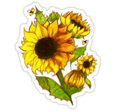 Sunflowers, obviously (and bees) / Gouache and Sharpie • Also buy this artwork on stickers, apparel, phone cases, and more.