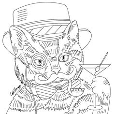 """441 Likes, 5 Comments - Best Coloring App for Adults (@colortherapyapp) on Instagram: """"The sneak peek for the next Gift of The Day tomorrow. Do you like this one? #CatGentleman…"""""""