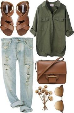 Olive shirt, distressed light denim, cognac sandals, cognac cross body