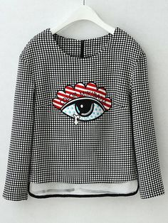 Black White Plaid Eye Embroidered Crop Blouse