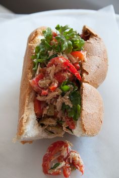 Gluten Free Pan Bagnat - delicious French Tuna Sandwich on a #glutenfree baguette!