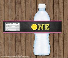 First Birthday Pink Lemonade Bottle Wraps - Birthday Party - PRINTABLE - Pink and Yellow - Chalkboard - Water Bottle - INSTANT DOWNLOAD