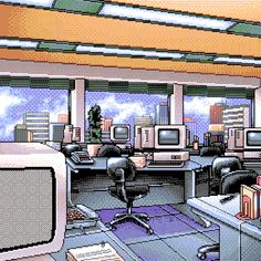 Early in the office Neon Aesthetic, Aesthetic Anime, Pixel Life, Pix Art, 8 Bit Art, 8 Bits, Pixel Games, Pixel Design, Good To See You