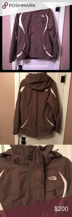 ❄️The North Face Triclimate Jacket (2 in 1 jacket) Super warm and wind breaker jacket. It is waterproof and insulated. The second jacket is brown as well with down insulation and can be easily snapped and zipped into outer shell.  This jacket has multiple inside and outside pockets for all your outdoor needs.  There is also an elastic band on the outer shell too keep snow/moisture out. I wore this a few times skiing out in Colorado and it served me very well!  It is in perfect condition, no…