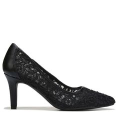 05b8759707cc Twirl on the dance floor in the Twilla Pump from Andrew Geller.Manmade  upper in a pump style with a pointed toeSlip on entryLace designSoft lining  with a ...