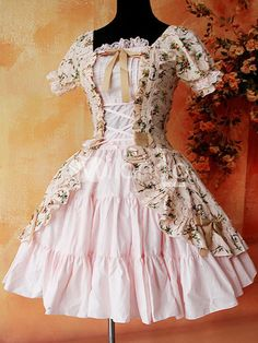 Classic Pink Floral Puff Short Sleeves Cotton Lolita Dress