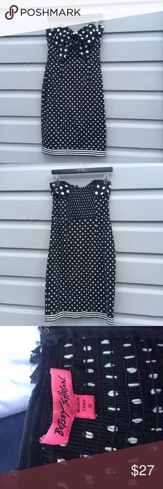 Betsey Johnson polka dot strapless dress Betsy Johnson pencil dress in black and white polka with oversize bow, size 10. Side zip closure, stretchy back panel and stunning retro silhouette. Please note small flaw: fabric is coming loose in one spot at top of back panel ( see last photo). Betsey Johnson Dresses Strapless