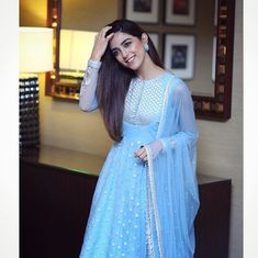 VeroniQ Trends-Designer Anarkali Suit in Sky Blue in Georgette with Sequins and Embroidery work,Salwar Suit,Punjabi Suit,Wedding,Indian-VF Pakistani Dress Design, Pakistani Dresses, Indian Dresses, Indian Outfits, Indian Clothes, Maya Ali, Kurti Designs Party Wear, Kurta Designs, Blouse Designs