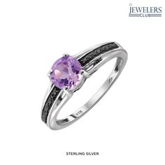 1ct Genuine Amethyst & 1/20ctw Black Diamond Accent Ring in Sterling Silver