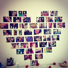 Fun way to show your favorite pics :) arrange the pictures how you want on the floor then take duck tape and tape each picture on how you designed it. then,one at a time, put double sided tape on the back and stick it on and your done!