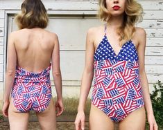 Vintage Red White + Blue American Flag Pattern Triangle Halter Top Patriotic USA One Piece Summer Sw Yeni Vintage Red White + Blue American Flag Patte. Vintage One Piece Swimsuits, Short Torso, Red White Blue, American Flag, Triangle, Trending Outfits, Swimwear, Summer, How To Wear