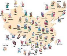 Mapa de la situación geográfica de las diferentes etnias que forman la sociedad china.