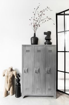 This vintage industrial home will bring a renewed breath of fresh air into your home interior decor! The way it fits into the whole style o Mango Wood Furniture, Weathered Furniture, Grey Furniture, Furniture Storage, Industrial Furniture, Office Furniture, Painted Furniture, Industrial House, Industrial Style