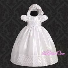 0e09b9a66 White Baby Girl Formal Christening Baptism Dress Gown & Bonnet size  1m-3m FG027