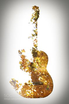 Sound of Autumn Double exposure of my guitar and a colorful autumn tree.