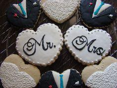 Wedding dress and tuxedo cookies by Kiwi's Kookies