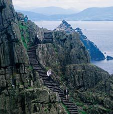 island of Skellig Michael, off the Ring of Kerry, where monks helped keep literacy alive in the Dark Ages.