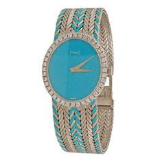 Piaget Lady's White Gold Diamond Blue Face Wristwatch