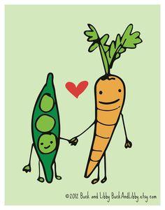 Carottes et petits pois, une histoire d'amour? En tout cas, on aime cette illustration très mignonne!