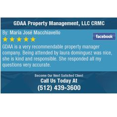 GDAA is a very recommendable property manager company. Being attended by laura dominguez...