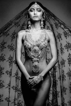 Goddess Women's Fashion Festival Jewelry Gypsy Jewellery Black and White Photography Indian Piercing Beautiful Women