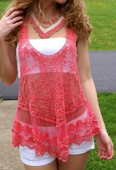 Great Piece for Layered Looks! Coral Pink Lace Summer Tank Top Fashion---> I have it in white☺