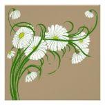 Vintage White Gerber Daisy Flowers Bouquet Custom Invitation