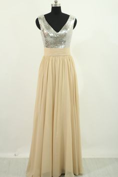 Champagne Prom Dress Sequin Champagne Evening Long by harsuccthing