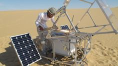 3D printing by focusing sunlight onto sand; both resources are extremely plentiful in a desert.