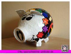 Hippi - Sau - 70iger Jahre Stil - Geldgeschenk - Unikat - grosses Sparschwein -
