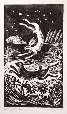 check out the work of celia hart. here we have: Dancing Hares - linocut print prints nature woodcut rabbits birds animals love valentines primitive Animal Art, Woodcut Art, Illustration, Drawings, Linocut, Rabbit Art, Art, Bunny Art, Prints
