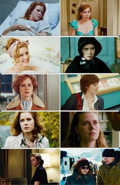 Amy Adams in various roles. Movies going clockwise starting from top right: Enchanted, Doubt, Julie and Julia, The Fighter, Man of Steel, The Master, Leap Year, Night at the Museum 2, Miss Pettigrew Lives For a Day and Junebug.